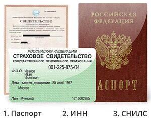 паспорт, инн, снилс
